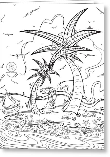 Coloring Page With Beautiful Tropical Island Drawing By Megan Duncanson Greeting Card
