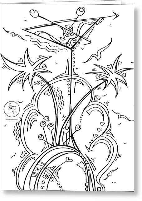 Coloring Page With Beautiful Tropical Martini Drawing By Megan Duncanson Greeting Card by Megan Duncanson