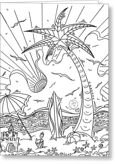 Coloring Page With Beautiful Tropical Surf Island Drawing By Megan Duncanson Greeting Card