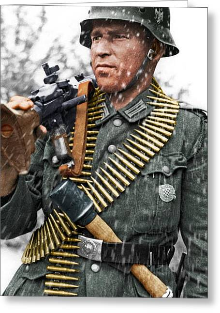 Colorized Ww2 German Mg'er Greeting Card by John Wills