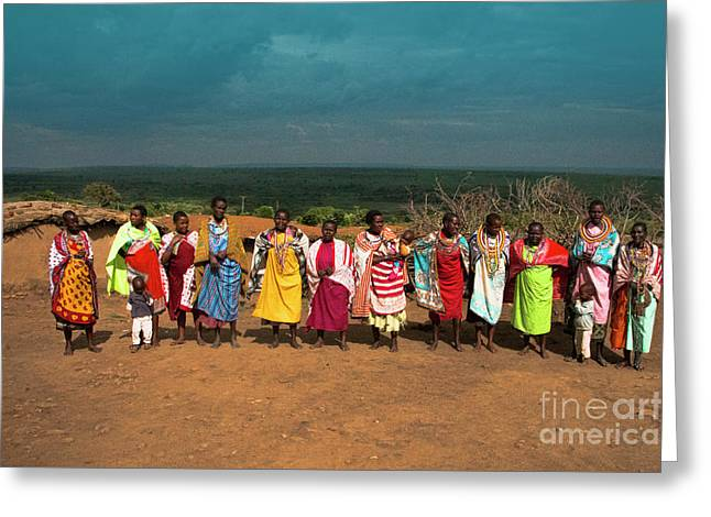 Greeting Card featuring the photograph Colors And Faces Of The Masai Mara by Karen Lewis