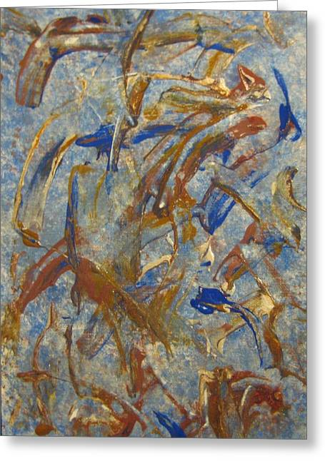 Colors Dance On Blue Greeting Card by Veronica Trotter