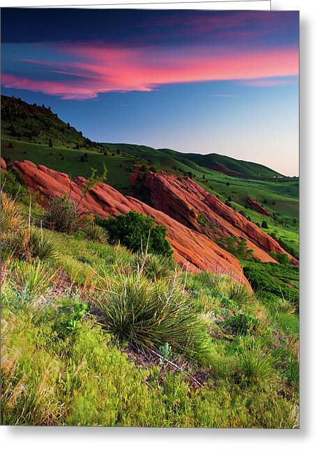 Greeting Card featuring the photograph Colors Of A Colorado Spring Sunrise by John De Bord