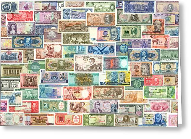 Colors Of Currency Greeting Card