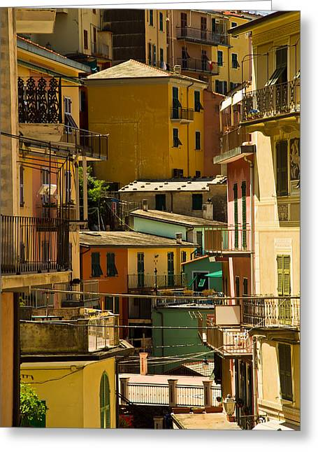 Colors Of Manarola Italy Greeting Card by Roger Mullenhour