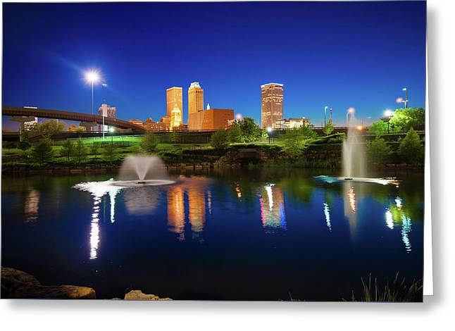 Greeting Card featuring the photograph Colors Of Night Tulsa Oklahoma Downtown City Skyline by Gregory Ballos
