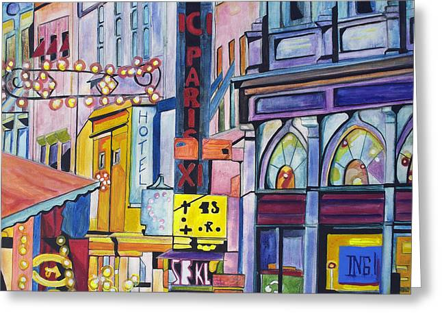 Greeting Card featuring the painting Colors Of Paris by Patricia Arroyo