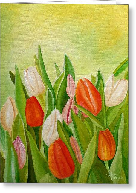 Greeting Card featuring the painting Colors Of Spring by Angeles M Pomata