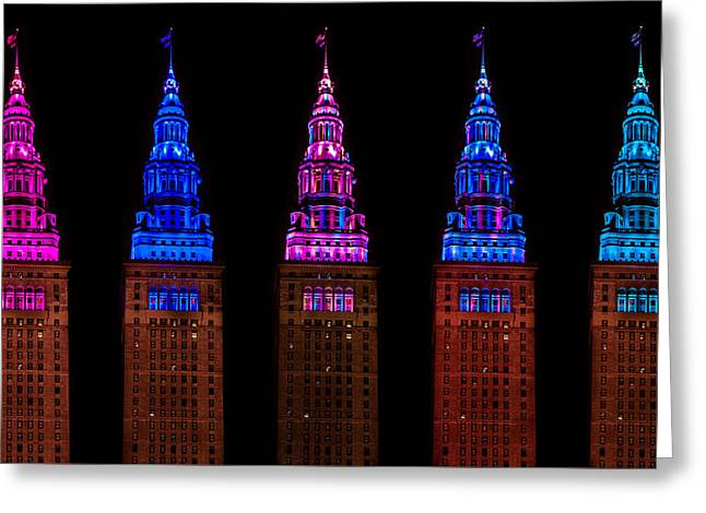 Colors Of The Terminal Tower Greeting Card