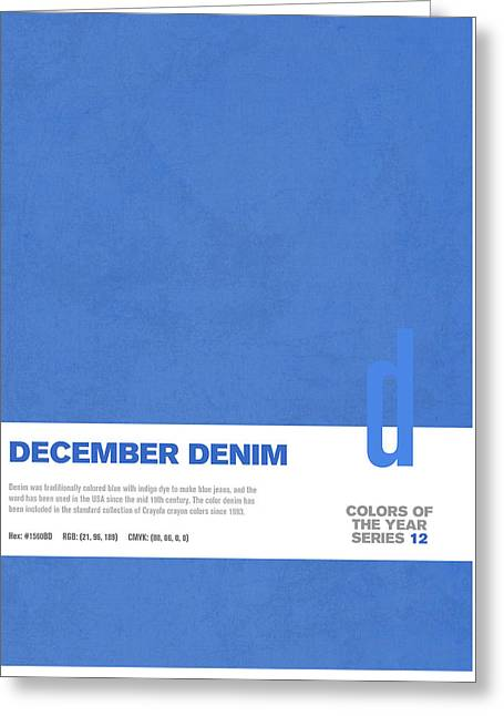 Colors Of The Year Series 12 Graphic Design December Denim Greeting Card by Design Turnpike