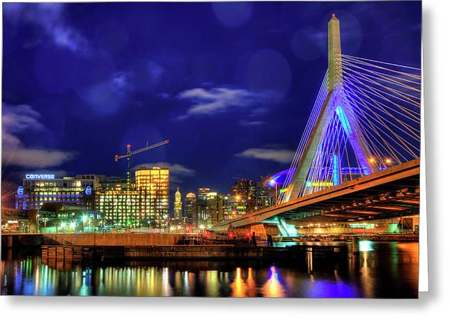 Greeting Card featuring the photograph Colors Of The Zakim Bridge - Boston, Ma by Joann Vitali