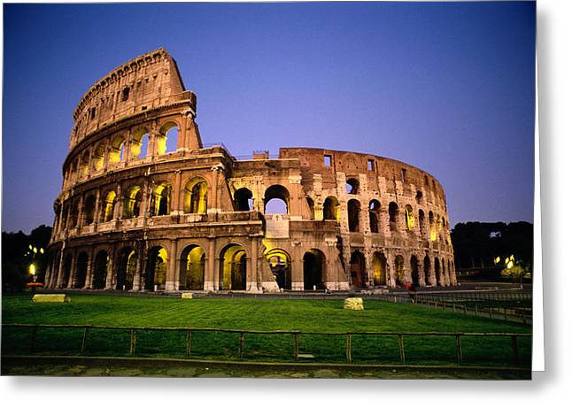 Art Of Building Greeting Cards - Colosseum At Night, Rome, Italy Greeting Card by Richard Nowitz