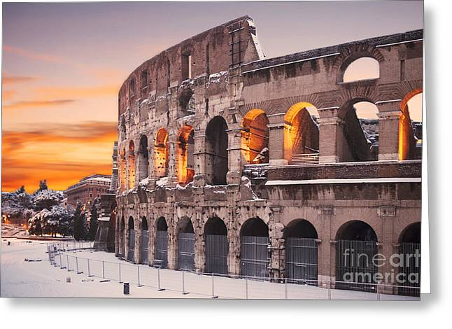 Colosseum Covered In Snow At Sunset Greeting Card