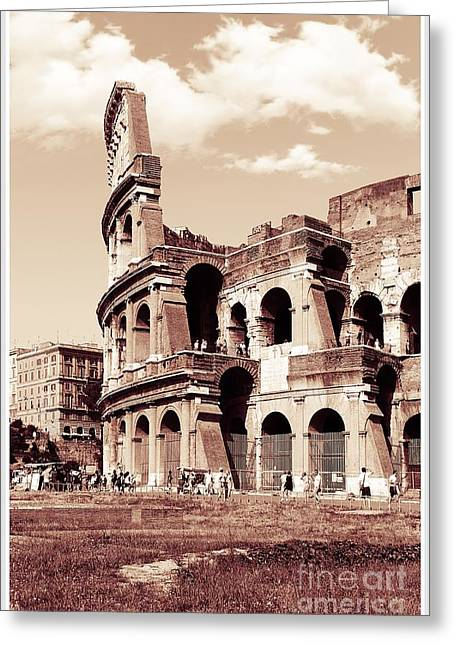 Colosseum Toned Sepia Greeting Card by Stefano Senise