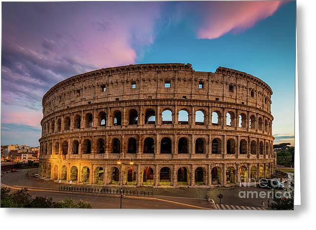 Colosseum Twilight Greeting Card by Inge Johnsson