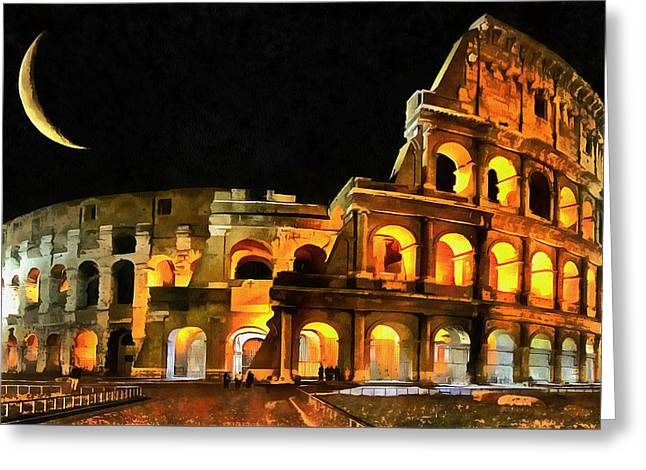 Colosseum Under The Moon Greeting Card