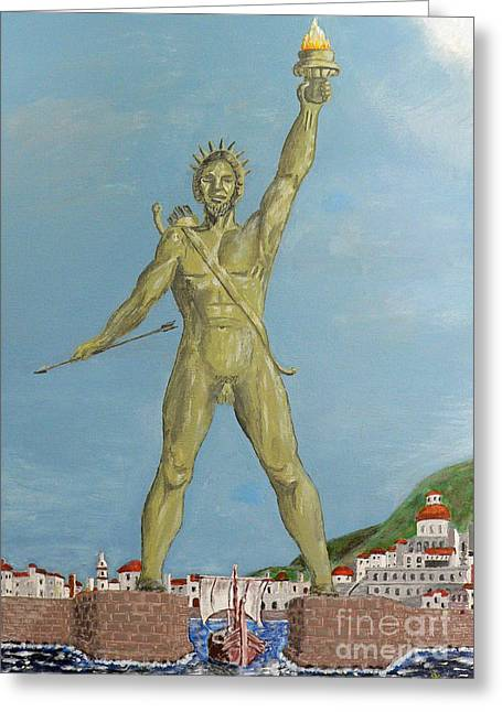 Colossus Of Rhodes Greeting Card by Eric Kempson