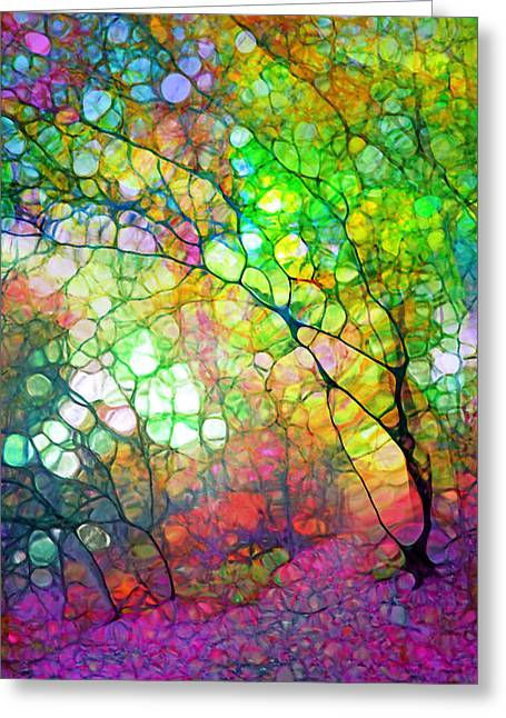 Colour Combustion Greeting Card by Tara Turner