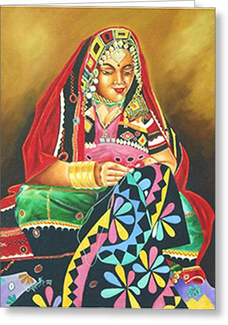 Greeting Card featuring the painting Colour Of Rajasthan by Ragunath Venkatraman