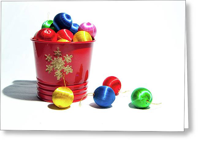 Coloured Baubles In A Pot Greeting Card
