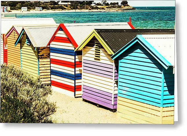 Colourful Bathing Sheds Greeting Card