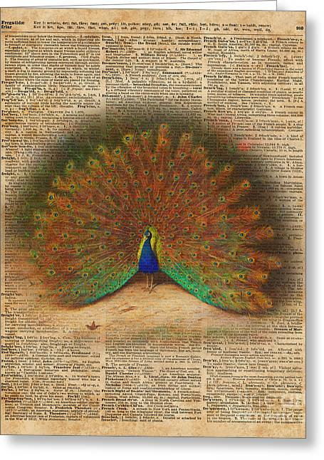 Colourful Beautiful Peacock Vintage Dictionary Art Greeting Card by Jacob Kuch