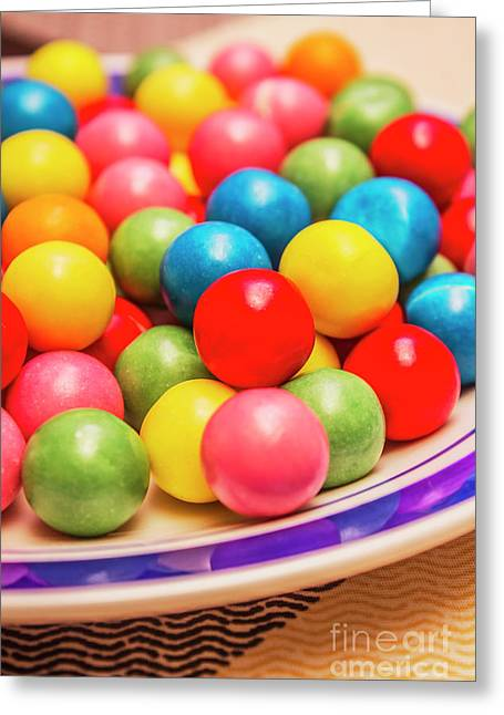 Colourful Bubblegum Candy Balls Greeting Card by Jorgo Photography - Wall Art Gallery
