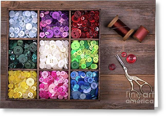 Colourful Buttons With Needle, Thread And Scissors Greeting Card