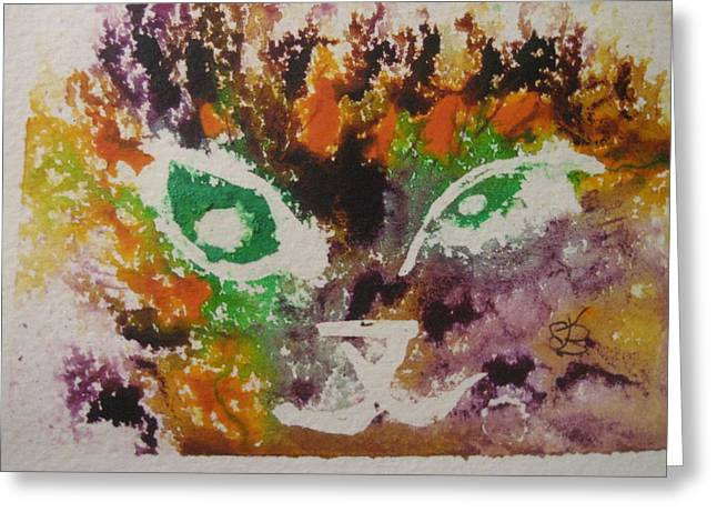 Greeting Card featuring the drawing Colourful Cat Face by AJ Brown