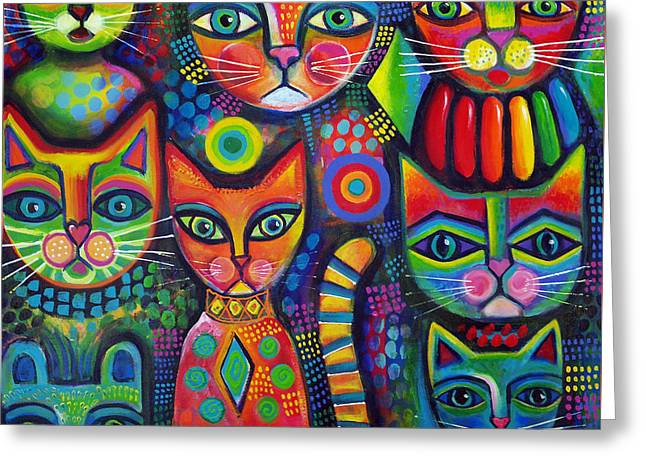 Colourful Cats Greeting Card by Karin Zeller