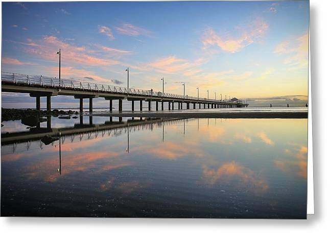 Colourful Cloud Reflections At The Pier Greeting Card