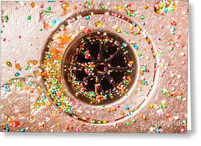Colourful Confetti In Drain Greeting Card by Jorgo Photography - Wall Art Gallery