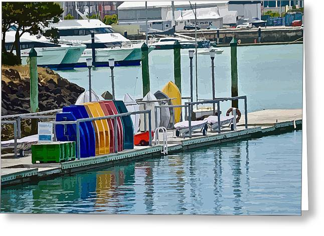 Colourful Dinghies Auckland Greeting Card