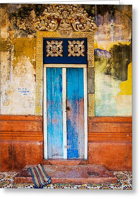 Colourful Door Greeting Card by Dave Bowman