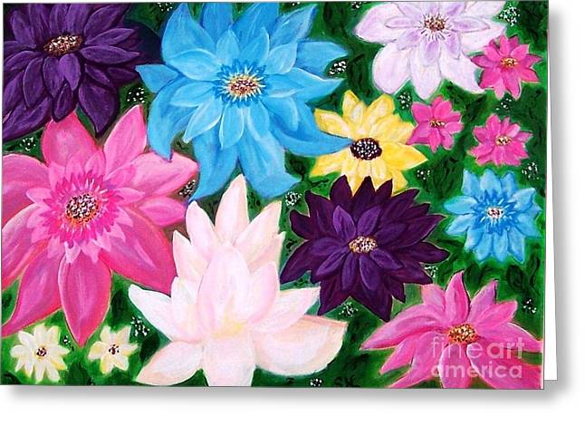 Greeting Card featuring the painting Colourful Flowers by Sonya Nancy Capling-Bacle