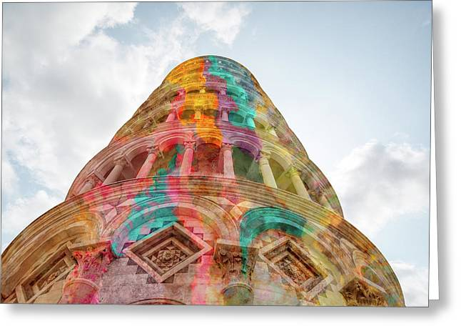 Greeting Card featuring the mixed media Colourful Leaning Tower Of Pisa by Clare Bambers