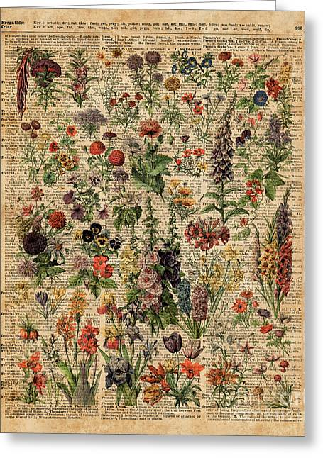 Colourful Meadow Flowers Over Vintage Dictionary Book Page  Greeting Card by Jacob Kuch