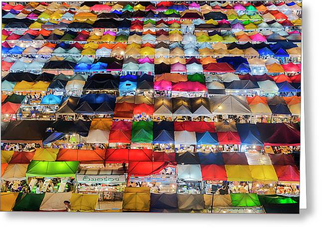 Colourful Night Market Greeting Card