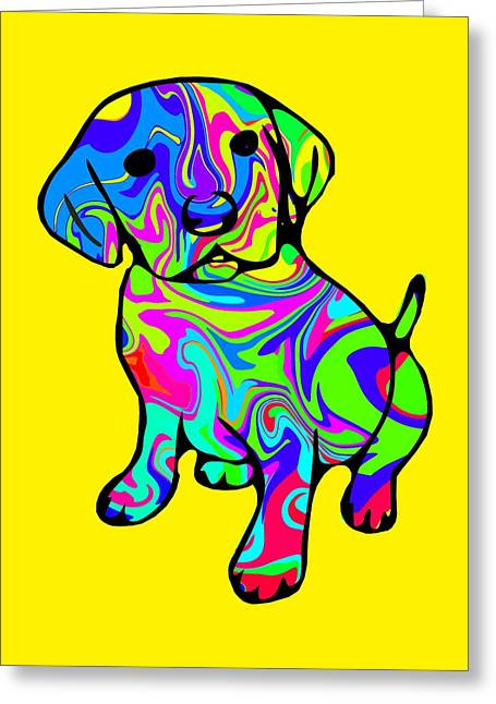 Puppies Digital Greeting Cards - Colourful Puppy Greeting Card by Chris Butler