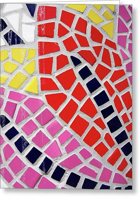 Colourful Tile Motif  Greeting Card by Aidan Moran