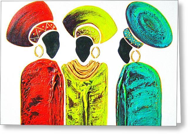 Colourful Trio - Original Artwork Greeting Card