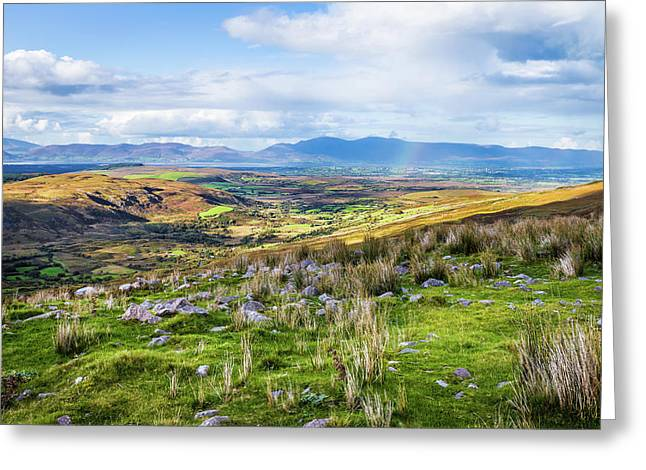 Greeting Card featuring the photograph Colourful Undulating Irish Landscape In Kerry  by Semmick Photo