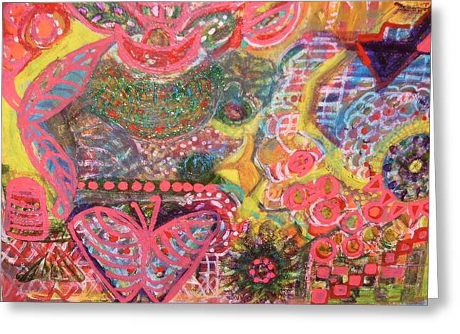 Colours And Shapes Medley Greeting Card by Anne-Elizabeth Whiteway