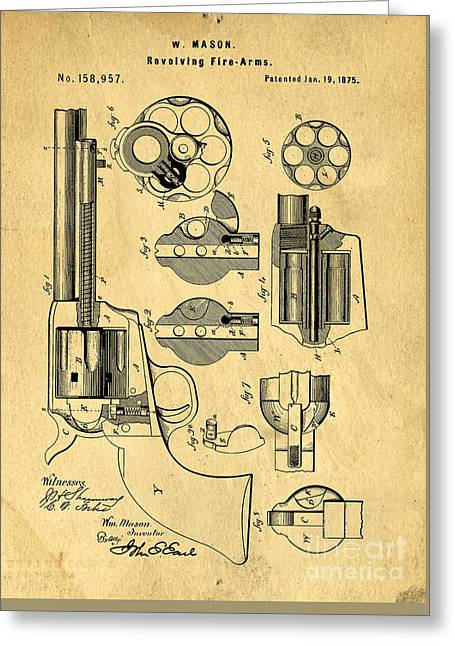 Colt Peacemaker Patent Art Blueprint Drawing Greeting Card by Edward Fielding