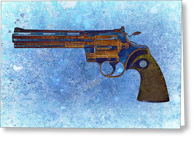 Colt Python 357 Mag On Blue Background. Greeting Card