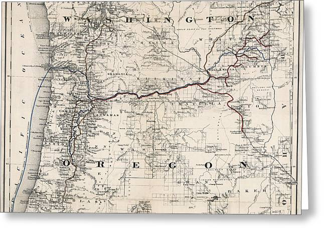 Coltons Washington And Oregon Territories Map 1880 Greeting Card by Daniel Hagerman