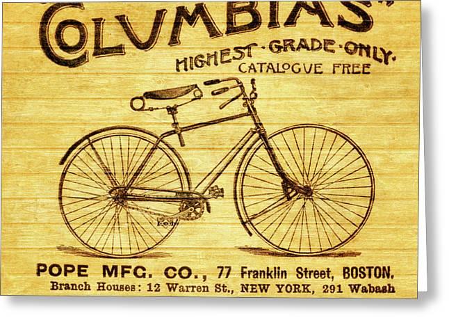 Columbia Bicycle Vintage Poster On Wood Greeting Card
