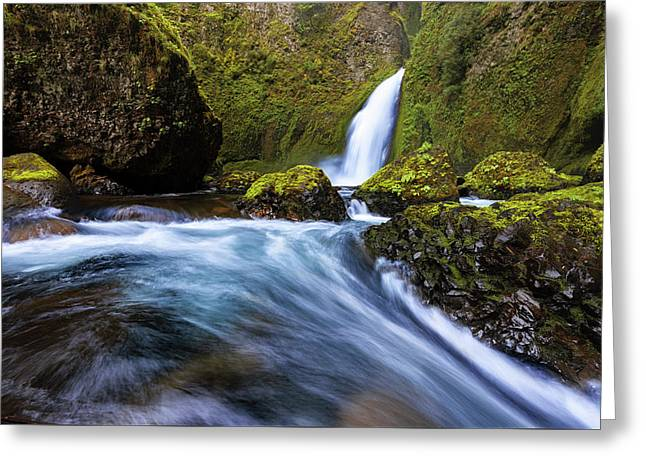 Greeting Card featuring the photograph Columbia Cascade by Mike Lang