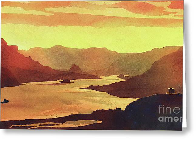 Greeting Card featuring the painting Columbia Gorge Scenery by Ryan Fox