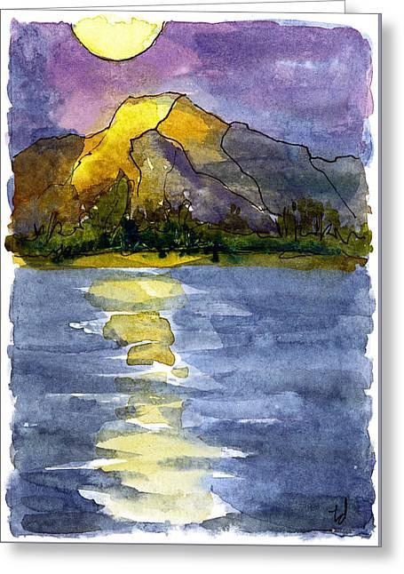 Columbia Sunset Greeting Card by Tonya Doughty